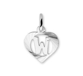 Hartvormige Zilveren Letter W-Bedel