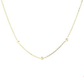 Zilveren Anker Collier met Gouden Laagje en Drie Sterretjes