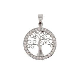 Levensboom Hanger van Gerhodineerd Zilver met Zirkonia's