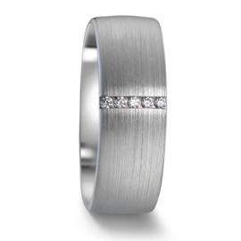 Robuuste Dames Trouwring van Mat Witgoud met Vijf Diamanten