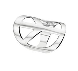 Peace-Teken Ring van Gerhodineerd Zilver