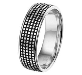 Zilveren Graveer Ring voor Heren met Geoxideerd Zilver