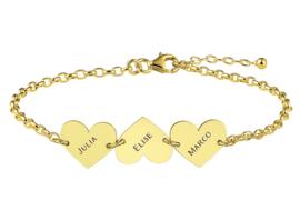 Names4ever Gouden Armband met Drie Naamhartjes GNA62
