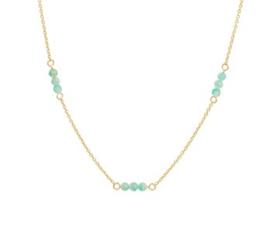 Gouden Collier met Meerdere Turquoise Bolletjes