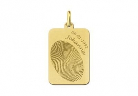 Names4ever Gouden Dog Tag Hanger met Vingerafdruk