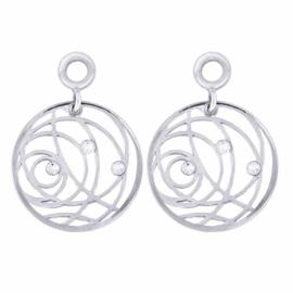 Zilveren Creoli Hangers met Swirl Zirkonia's van MY iMenso