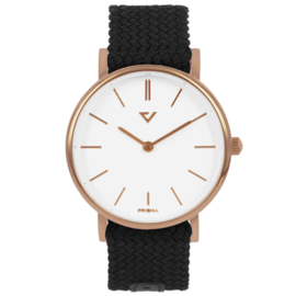 Prisma Roségoudkleurig Unisex Horloge met Zwarte Nylon