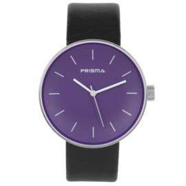 Prisma Basic Zilverkleurig Dames Horloge met Paarse Wijzerplaat