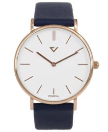 Opvallend Roségoudkleurig Horloge met Blauw Lederen Horlogeband