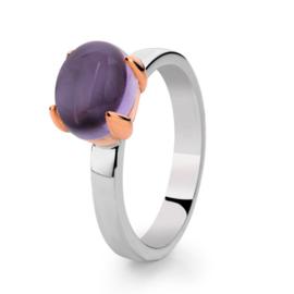 Excellent Jewelry Zilveren Ring met Roségoud en Amethist