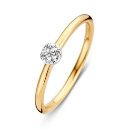 Excellent Jewelry Geelgouden Bolstaande Ring met 0,06 crt. Diamant