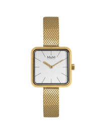 Vierkant Goudkleurig M&M Dames Horloge met Slanke Horlogeband