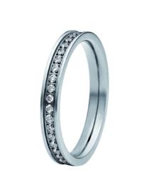 Zilverkleurige Ring met Zirkonia Rij van M&M