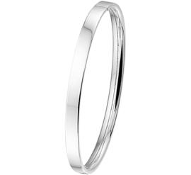 Vlakke Buis Dames Bangle armband van Zilver
