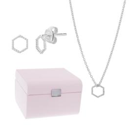 Sieradenbox + Zeshoek Oorknoppen en Ketting Gift Set