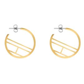 Goudkleurige Dames Oorbellen met Logo van Tommy Hilfiger TJ2780329