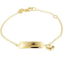 Gouden Graveer Kinderarmband Hart plaat 5 mm 12 – 14 cm