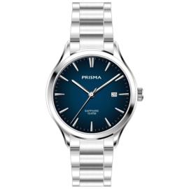 Prisma Zilverkleurig Balm Heren Horloge met Blauwe Wijzerplaat