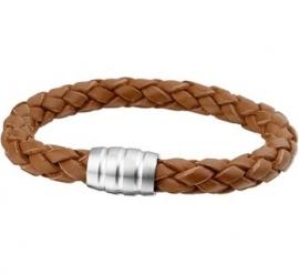 Stevige Lichtbruin Leren Gevlochten Heren Armband / Maat 21cm