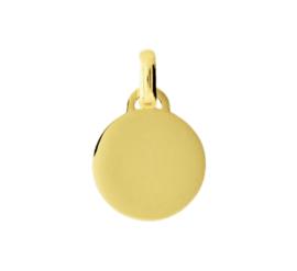 Ronde Graveer Hanger van Gepolijst Goud | Inital Coin Gold