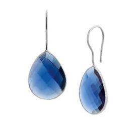 Robuuste Blauwe Synthetische Robijn Oorhangers van Zilver