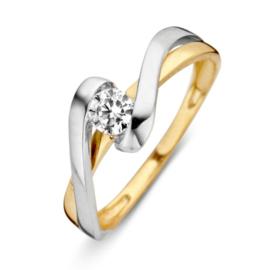 Excellent Jewelry Bicolor Ring met Witgouden Twist en Zirkonia