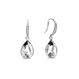 Classy Pear Zilveren Oorhangers met Wit Glaskristal