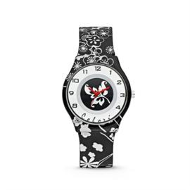 Zwart Kids Horloge met Witte Bloemen van Colori Junior