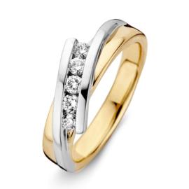 Excellent Jewelry Bicolor Ring met Witgouden Briljant Kopstuk