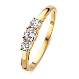 Excellent Jewelry Geelgouden Dames Ring met Drie Zirkonia's