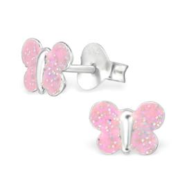 Zilveren Vlinder Kinderoorbellen met Roze Glitters