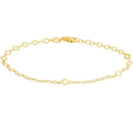 Goudkleurige Opengewerkte Rondjes Armband van Zilver voor Dames