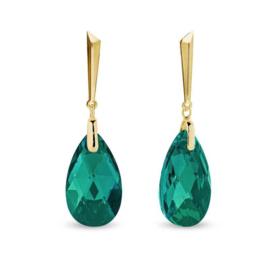 Spark Lacrima Gilded Oorhangers Emerald
