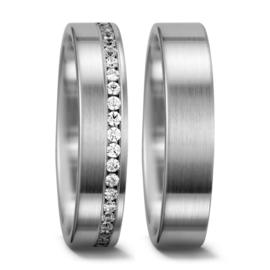 Vlakke Matte Zilveren Trouwringen Set met Rij Diamanten