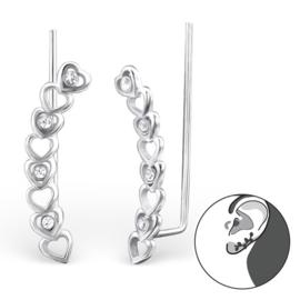 Zilveren ear cuff - Zirkonia Harten