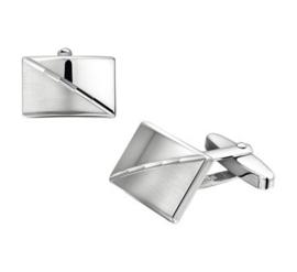 Rechthoekige Bolstaande Manchetknopen van Gerhodineerd Zilver