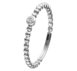 Bolletjes Ring van Witgoud met Zirkonia