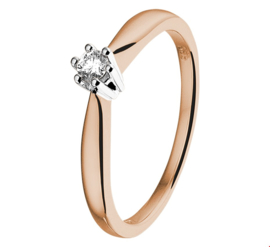 Stijlvolle Bicolor Ring met Transparante Diamant