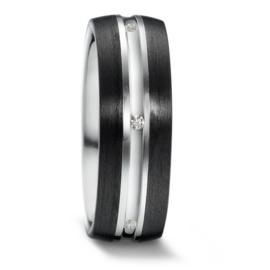 Robuuste Carbon Dames Trouwring met Zilver en Diamanten