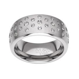 Brede Zilverkleurige Ring met Meerdere Zirkonia's van M&M