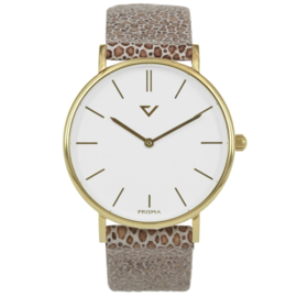 Prisma Goudkleurig Heren Horloge met Vacht Horlogeband
