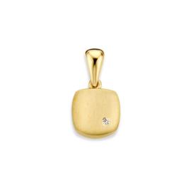 Excellent Jewelry Geelgouden Vierkante Gematteerde Hanger