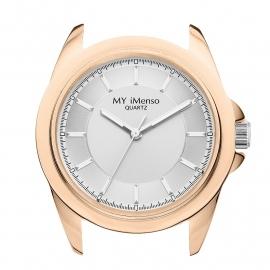 Roségoudkleurige Horloge Kast met Zilverkleurige Wijzerplaat