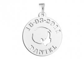Names4ever Jongenhoofdje Zilveren Babyhanger met Naam en Datum