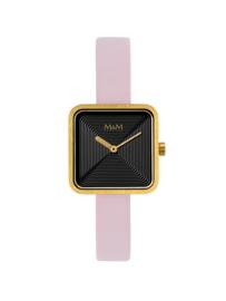 Vierkant Goudkleurig M&M Dames Horloge met Roze Horlogeband