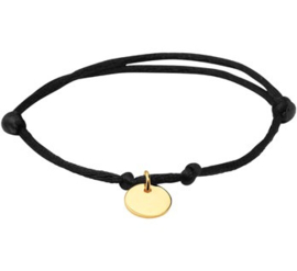 Zwart Satijnen Armbandje met Goudkleurig Rondje