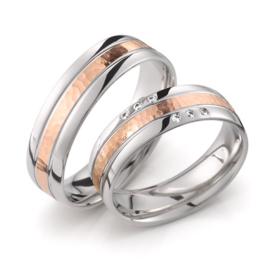 Zilveren Trouwringen Set met Gehamerde Roségouden Strook en Diamanten