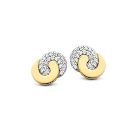 Excellent Jewelry Bicolor Gouden Oorstekers met Diamanten