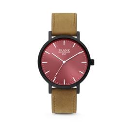 Zwart Horloge van Frank 1967 met Rode Wijzerplaat en Bruine Horlogeband