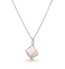 Beige Kubus Glaskristallen Ketting van Spark Jewelry